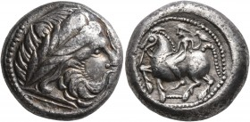 CELTIC, Middle Danube. Uncertain tribe. 2nd century BC. Tetradrachm (Silver, 20 mm, 12.27 g, 7 h), 'Dachreiter' type. Imitating Philip II of Macedon. ...