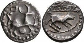 CELTIC, Middle Danube. Uncertain tribe. 2nd-1st centuries BC. Tetradrachm (Silver, 24 mm, 9.93 g, 6 h), 'Neutra' type. Celticized stag standing right;...