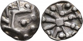 CELTIC, Middle Danube. Uncertain tribe. 2nd-1st centuries BC. Drachm (Silver, 14 mm, 2.00 g), 'Divinka' type. Heavily stylized head to right. Rev. Ste...