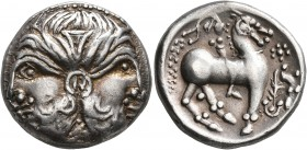 CELTIC, Lower Danube. Uncertain tribe. Circa 2nd century BC. Tetradrachm (Silver, 23 mm, 12.38 g, 7 h), 'Doppelkopf' type. Imitating Philip II of Mace...