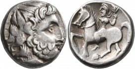 CELTIC, Lower Danube. Uncertain tribe. Circa 2nd century BC. Tetradrachm (Silver, 22 mm, 12.49 g, 12 h), 'Zweigarm' type. Imitating Philip II of Maced...