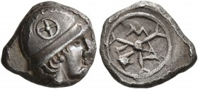 GAUL. Massalia. Circa 450-410 BC. Obol (Silver, 11 mm, 0.90 g, 12 h). Male head with long hair to right, wearing helmet adorned with wheel of four spo...