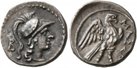 GAUL. Massalia. Circa 150-130 BC. Diobol (Silver, 11 mm, 0.88 g, 6 h). Head of Athena to right, wearing crested Corinthian helmet; behind, B. Rev. MAΣ...