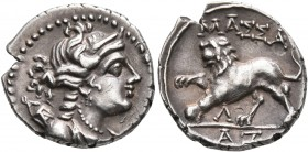 GAUL. Massalia. Circa 125-90 BC. Drachm (Silver, 17 mm, 2.74 g, 4 h). Laureate head of Artemis to right, wearing pendant earring and pearl necklace an...