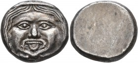 ETRURIA. Populonia. 3rd century BC. 20 Asses (Silver, 20 mm, 8.19 g). Diademed facing head of Metus with protruding tongue; below, X:X (mark of value)...
