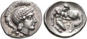 CALABRIA. Tarentum. Circa 380-325 BC. Diobol (Silver, 12 mm, 1.25 g, 2 h). Head of Athena to right, wearing laureate and crested Attic helmet and pear...
