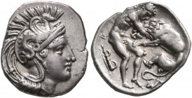 CALABRIA. Tarentum. Circa 380-325 BC. Diobol (Silver, 12 mm, 1.20 g, 11 h). Head of Athena to right, wearing crested Attic helmet adorned with a hippo...