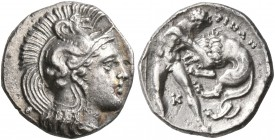 CALABRIA. Tarentum. Circa 380-325 BC. Diobol (Silver, 12 mm, 1.14 g, 7 h). Head of Athena to right, wearing crested Attic helmet adorned with a hippoc...