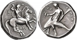 CALABRIA. Tarentum. Circa 325-280 BC. Didrachm or Nomos (Silver, 20 mm, 7.90 g, 9 h), Epa.., Ari... and Kl..., magistrates. Nude warrior on horse gall...