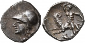 CALABRIA. Tarentum. Circa 272-240 BC. Diobol (Silver, 11 mm, 1.00 g, 3 h). Head of Athena to left, wearing crested Corinthian helmet and necklace. Rev...