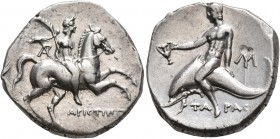 CALABRIA. Tarentum. Circa 240-228 BC. Didrachm or Nomos (Silver, 20 mm, 6.53 g, 1 h), Aristippos, magistrate. ΑΡΙCΤΙΠΠ[OC] Nude youth on horse gallopi...