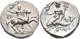 CALABRIA. Tarentum. Circa 240-228 BC. Didrachm or Nomos (Silver, 20 mm, 6.58 g, 1 h). Warrior on horseback to right, holding Nike, who crowns him, in ...