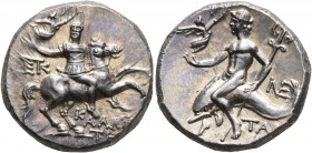 CALABRIA. Tarentum. Circa 240-228 BC. Didrachm or Nomos (Silver, 20 mm, 6.60 g, 7 h), Kallikrates, magistrate. Warrior on horseback to right, holding ...