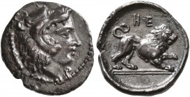 LUCANIA. Herakleia. Circa 432-420 BC. Diobol (Silver, 13 mm, 1.08 g, 8 h). Head of Herakles to right, wearing lion skin headdress; below chin, Φ. Rev....