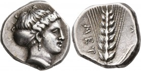 LUCANIA. Metapontion. Circa 400-340 BC. Didrachm or Nomos (Silver, 20 mm, 8.10 g, 10 h). Head of Demeter to right, wearing pendant earring and with he...