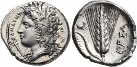 LUCANIA. Metapontion. Circa 340-330 BC. Didrachm or Nomos (Silver, 23 mm, 7.87 g, 10 h). ΔAMATHP Head of Demeter to left, wearing wreath of grain ears...