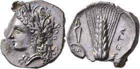 LUCANIA. Metapontion. Circa 330-290 BC. Didrachm or Nomos (Silver, 23 mm, 7.90 g, 8 h), Atha..., magistrate. Head of Demeter to left, wearing wreath o...