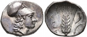 LUCANIA. Metapontion. Circa 325-275 BC. Diobol (Silver, 13 mm, 1.20 g, 5 h). Head of Athena to right, wearing Corinthian helmet. Rev. META Barley ear ...
