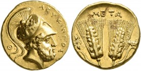 LUCANIA. Metapontion. Time of Pyrrhos of Epeiros, circa 280-279 BC. Tetrobol or Third Stater (?) (Gold, 14 mm, 3.35 g, 7 h), uncertain standard. ΛEYKI...