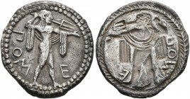 LUCANIA. Poseidonia. Circa 530-500 BC. Drachm (Silver, 19 mm, 3.50 g, 12 h). ΠΟM-E Poseidon, nude but for chlamys over his shoulders, striding right, ...
