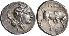 LUCANIA. Thourioi. Circa 280-213 BC. Didrachm or Nomos (Silver, 21 mm, 7.00 g, 10 h), Pha..., magistrate. Head of Athena to right, wearing crested Att...