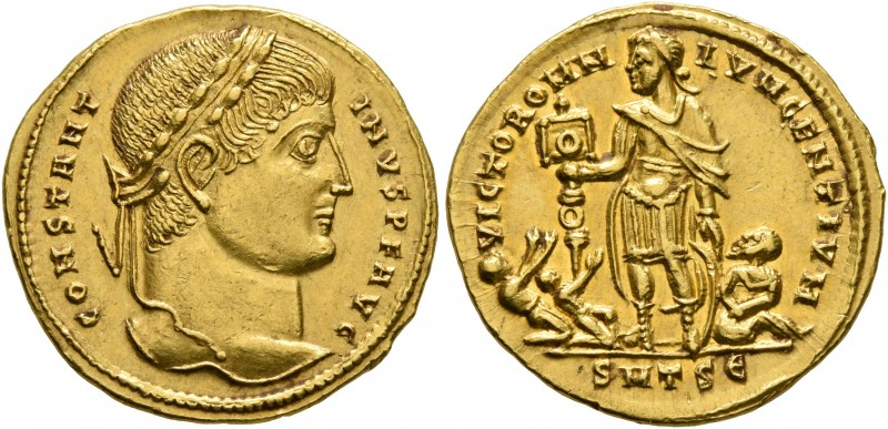 Constantine I, 307/310-337. Solidus (Gold, 19 mm, 4.62 g, 5 h), Thessalonica, 32...