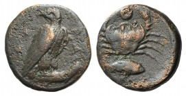 Sicily, Akragas, c. 409-406 BC. Æ Onkia (15mm, 3.25g, 9h). Eagle standing r. on fish, head l. R/ Crab; below, grouper r. CNS I, 83; HGC 2, 150. Brown ...