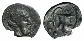 Sicily, Naxos, c. 461-430 BC. AR Hemilitron (7mm, 0.14g, 12h). Wreathed and bearded head of Dionysos r. R/ Kantharos; six pellets around. Cahn 97; HGC...
