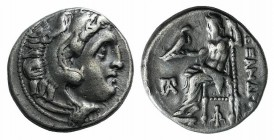 Kings of Macedon, Antigonos I Monophthalmos (320-301 BC). AR Drachm (16mm, 4.32g, 12h). In the name and types of Alexander III. Kolophon, c. 319-310 B...
