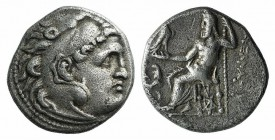 Kings of Thrace, Lysimachos (305-281 BC). AR Drachm (15mm, 3.93g, 12h). In the types of Alexander III of Macedon. Kolophon, c. 299/8-297/6 BC. Head of...