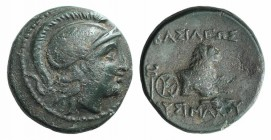 Kings of Thrace, Lysimachos (305-281 BC). Æ (13mm, 2.26g, 12h). Helmeted head of Athena r. R/ Forepart of a lion r.; kerykeion and monogram to l., spe...