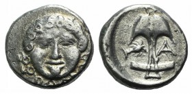 Thrace, Apollonia Pontika, late 5th-4th centuries BC. AR Drachm (12.5mm, 2.86g, 12h). Facing gorgoneion. R/ Anchor; A to r., crayfish to l. SNG BM Bla...
