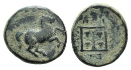 Thrace, Maroneia, c. 398/7-348/7 BC. Æ (18mm, 5.70g, 5h). Horse prancing r. R/ Grape vine within linear square. Schönert-Geiss 721-905; SNG Copenhagen...