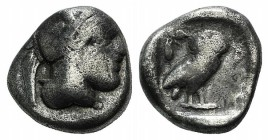Attica, Athens, c. 454-404 BC. AR Drachm (13mm, 3.95g, 11h). Helmeted head of Athena r. R/ Owl standing r., head facing; olive sprig and crescent behi...