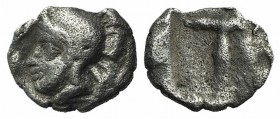 Arkadia, Tegea, c. 423-400 BC. AR Tetartemorion (5mm, 0.17g, 12h). Helmeted head of Athena Alea l. R/ T within shallow incuse square. BCD Peloponnesos...