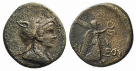 Pontos, Amisos, c. 85-65 BC. Æ (21mm, 7.84g, 12h). Bust of Amazon r., wearing wolf's scalp. R/ Nike walking r., holding wreath in r. hand, palm over l...