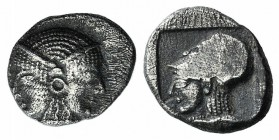 Mysia, Lampsakos, c. 500-450 BC. AR Obol (9mm, 0.77g, 6h). Female janiform head. R/ Helmeted head of Athena l. within incuse square. SNG BnF 1128-31. ...