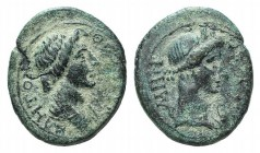 Mysia, Pergamon, c. AD 40-60. Æ (17mm, 2.84g, 12h). Draped bust of Senate r. R/ Turreted bust of Roma r. RPC I 2374; BMC 205. Green patina, Good Fine