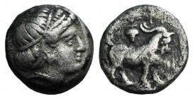 Troas, Antandros, early 4th century BC. AR Trihemiobol (9.5mm, 1.27g, 6h). Head of Artemis Astyrene r. R/ Goat standing r.; grape bunch above. SNG Cop...