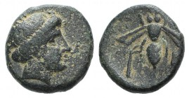 Troas, Gentinos, 4th century BC. Æ (11mm, 1.82g, 11h). Female head (Artemis?) r. R/ Bee; palm tree to lower l. Bellinger 145; SNG München 194-6; SNG C...