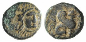 Troas, Gergis, c. 350-300 BC. Æ (10.5mm, 1.61g, 7h). Head of Sibyl Herophile facing slightly r., wearing laurel wreath and necklace. R/ Sphinx seated ...