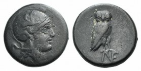 Aeolis, Neonteichos, c. 2nd century BC. Æ (16mm, 4.03g, 6h). Head of Athena r., wearing crested Attic helmet decorated with griffin. R/ Owl standing r...