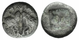 Lesbos, Unattributed early mint, c. 500-450 BC. BI 1/12 Stater (9mm, 0.99g). Confronted boars' heads. R/ Four-part incuse square. HGC 6, 1067. Fine