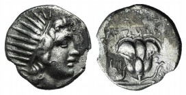 Islands of Caria, Rhodos. Rhodes, c. 188-170 BC. AR Drachm (14mm, 2.83g, 12h). Artemon, magistrate. Radiate head of Helios r. R/ Rose with bud to r.; ...