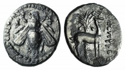 Ionia, Ephesos, c. 202-150 BC. AR Drachm (17mm, 3.44g, 12h). Bee. R/ Stag standing r.; palm tree in background. Cf. SNG Copenhagen 298ff. Near VF