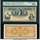 Argentina Banco Nacional 2 Pesos 1883 Pick S677fp; S677bp Front and Back Proofs PMG About Uncirculated 55; Uncirculated. Mounted on cardstock and the ...