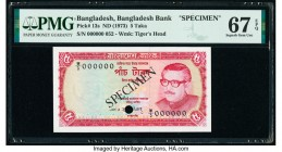 Bangladesh Bangladesh Bank 5 Taka ND (1973) Pick 13s Specimen PMG Superb Gem Unc 67 EPQ. Cancelled with 1 punch hole.   HID09801242017  © 2020 Heritag...
