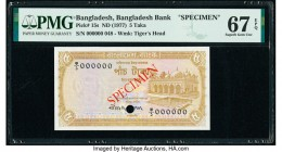 Bangladesh Bangladesh Bank 5 Taka ND (1977) Pick 15s Specimen PMG Superb Gem Unc 67 EPQ. Cancelled with 1 punch hole.   HID09801242017  © 2020 Heritag...