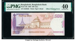 Offset Printing Error Bangladesh Bangladesh Bank 500 Taka 2003 Pick 43b PMG Extremely Fine 40. Staple holes.   HID09801242017  © 2020 Heritage Auction...