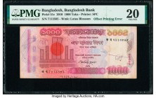 Offset Printing Error Bangladesh Bangladesh Bank 1000 Taka 2010 Pick 51c PMG Very Fine 20. Staple holes and annotations are mentioned.   HID0980124201...